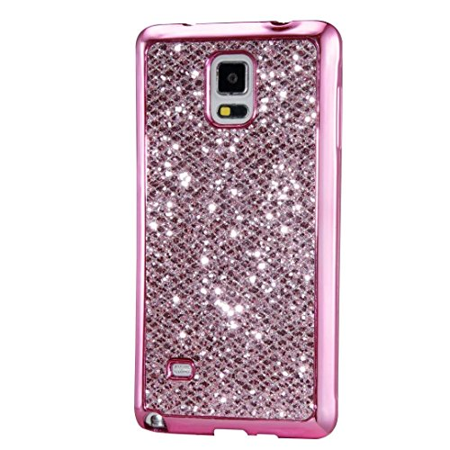 KSHOP Case for Samsung Galaxy Note 5 Soft Silicone TPU Pink Glossy Glitter Bling Shining Luxury Protective Case Cover with Eletroplating Frame Cell Phone Back Bumper Shell