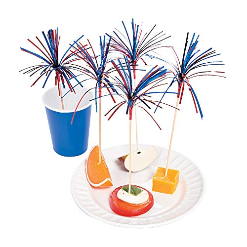 Fun Express - Firework Pick (100pc) for Fourth of July - Party Supplies - Serveware & Barware - Picks & Stirrers & Parasols - Fourth of July - 100 Pieces