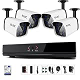 ELEC 4 Channel 1080P Home Security Camera System POE NVR Night Vision 1TB HDD Black