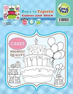 Creatiket 1095 Boyama Etiketi Happy Birthday 2 Uc Katli Pasta