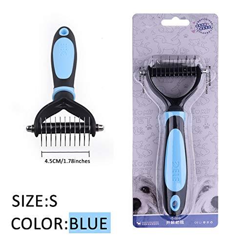 fairly_headstream Hair Removal Comb for Dogs Cat Detangler Fur Trimming Dematting Deshedding Brush,Blue-S ()