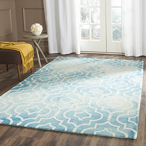 Safavieh Dip Dye Collection DDY538D Handmade Vibrant Geometric Moroccan Watercolor Turquoise and Ivory Wool Area Rug (6' x 9')