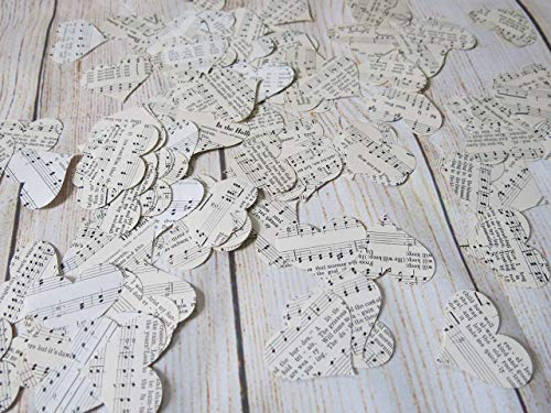 200 Piece Vintage Music Hearts Confetti, Music Theme Party, Wedding Table Scatter, Song Book Pages Confetti ()