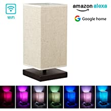 Alexa Wifi Smart Wood Table Lamp, Dimmable Multicolored Color Changing LED Light, with Fabric Shade and Solid Wood, Smartphone Control Compatible with Alexa