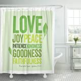 VaryHome Shower Curtain Green Faith Vintage Christian Design ? Fruit of the Spirit Joy Inspire Waterproof Polyester Fabric 72 x 78 Inches Set with Hooks