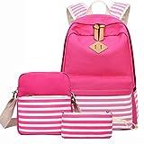Travel Laptop Backpack,Miya School Bag Travel Daypack Bookbag Shoulder Bag Pencil Case for Women Teens Girls 3 Pieces Set Canvas Book Bag for Business Travel - Red