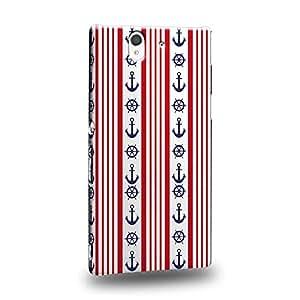 Case88 Premium Designs Art Nautical Striped Anchors Carcasa/Funda dura para el Sony Xperia Z