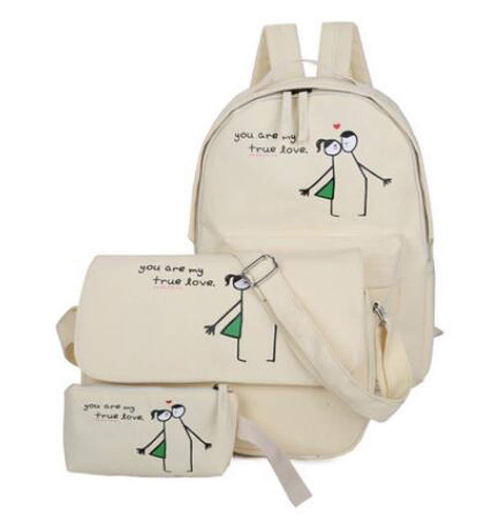 Willlly Satchel Teenage Girl Canvas School Casual Chic Bag Laptop Mochila de Viaje Casual Daypacks Bolsa de Hombro Monedero Beige Bolsas (Color : Beige, Size : One Size)