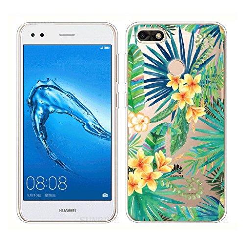 Funda para Huawei Y6 Pro 2017 / Enjoy 7 , IJIA Transparente Arco Iris Unicornio TPU Silicona Suave Cover Tapa Caso Parachoques Carcasa Cubierta para Huawei Y6 Pro 2017 / Enjoy 7 (5.0) WM96