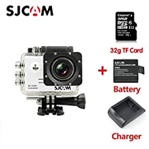 Original SJCAM SJ5000 Sport Action Camera Video Camcorder 1080P 170°Wide Angle Lens Waterproof Outdoor Sports Riding Diving Skiing Car DVR DV with 32G TF Card Extra Battery Charger White
