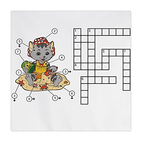 Satin Square Tablecloth,Word Search Puzzle,Crossword Game for Children Cute Cat on Beach and Building Sand Castles Decorative,Multicolor,Dining Room Kitchen Table Cloth Cover
