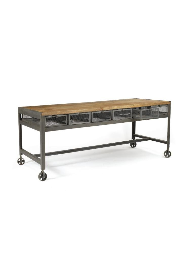 Industrial Console Table - Brown Wood