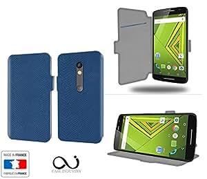 Bleu Collection Serpent Funda de Cuero para Motorola Moto X Play Flip Case Cover (Estuche) PU Cuero - Funcion de Soporte / Billetera con Tapa para Tarjetas- Accesorios Case Industry Protector