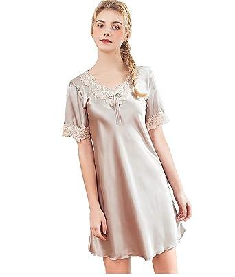 9b4503ec50ce0 Womens Nightdress Sleepwear Soft Satin V-Neck lace Nighties Nightgown Women  Sleeveless Pyjama: Amazon.co.uk: Clothing