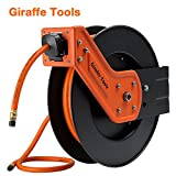 Giraffe Air Hose-Reel with 3/8 In. x 50 Ft Hybrid Air Hose,Auto Retracble,300PSI Heavy Duty-Reel