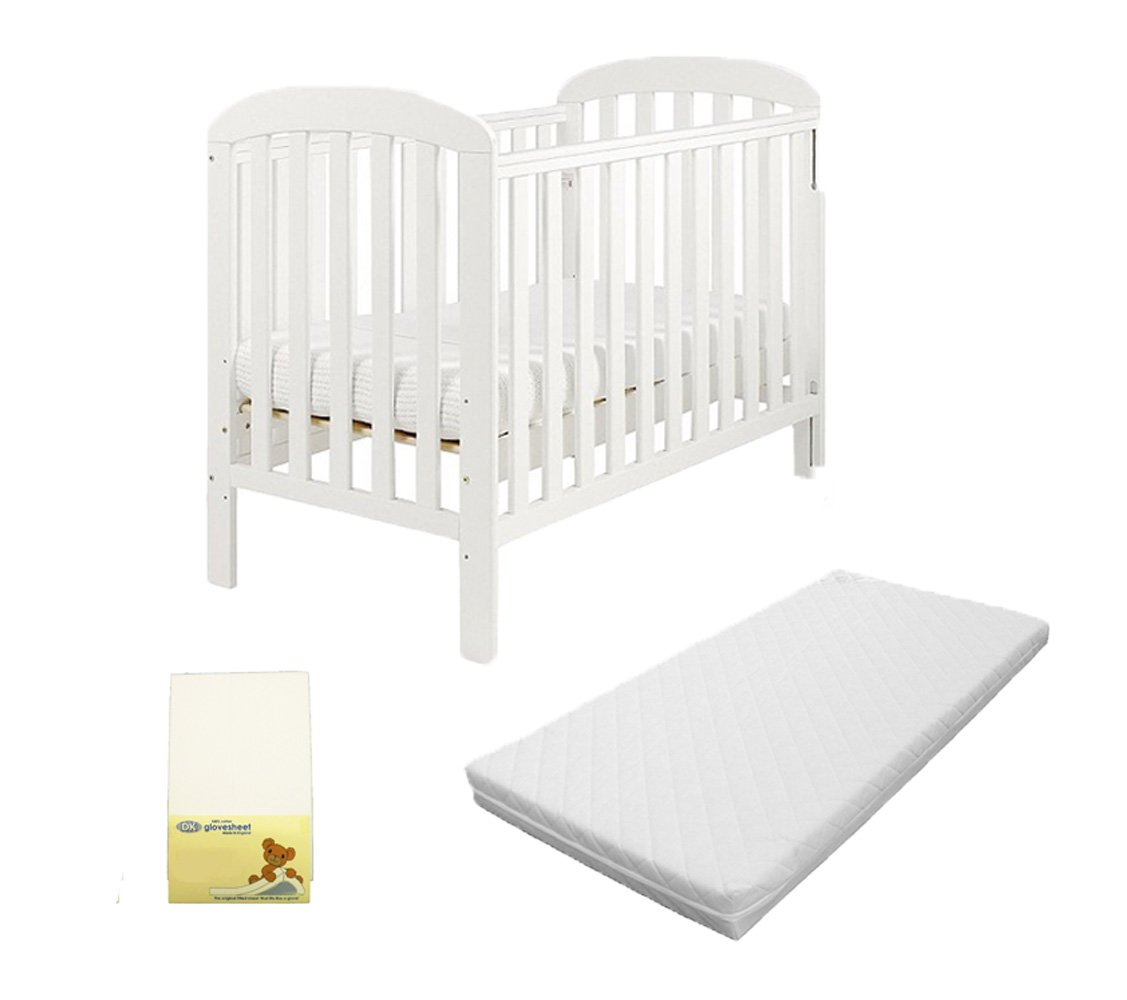 3 Piece Bundle Including Eastcoast Anna Dropside Cot in White, KATY® Superior Eco Fibre Mattress & DK Jersey Fitted Sheet