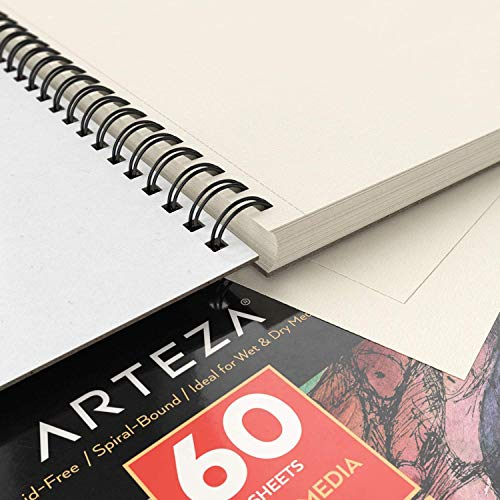 "ARTEZA 11x14"" Mixed Media Sketch Book, 2 Pack, 110lb/180gsm, 120 Sheets (Acid-Free, Micro-Perforated), Spiral-Bound Pad, Ideal for Wet and Dry Media, Sketching, Drawing, and Painting by ARTEZA (Image #4)"