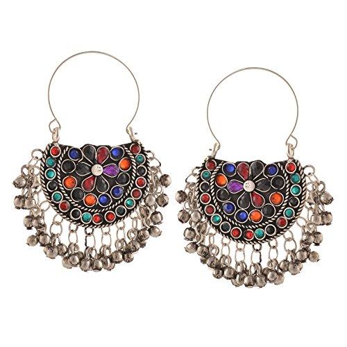 Zephyrr Fashion Oxidized Ethnic Beaded Chandbali Hook Earrings Women For Girls and Women