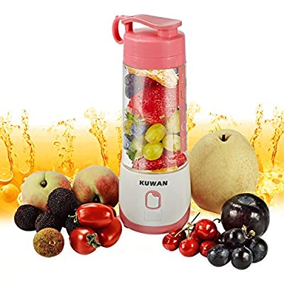 KUWAN Mini Rechargeable Electric Fruit Juicer portable Blender with USB Charging Cable and installed safety protection program