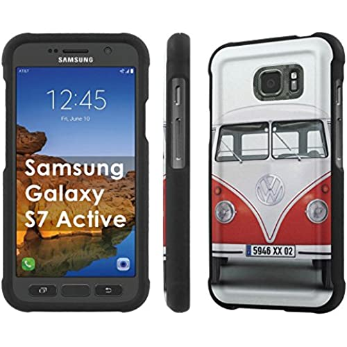 AT&T [Galaxy S7 Active] [5.1 Screen] Armor Case [NakedShield] [Black] Total Armor Protection [Shell Snap] + [Screen Protector] Phone Case - [VW Van] for Samsung Sales
