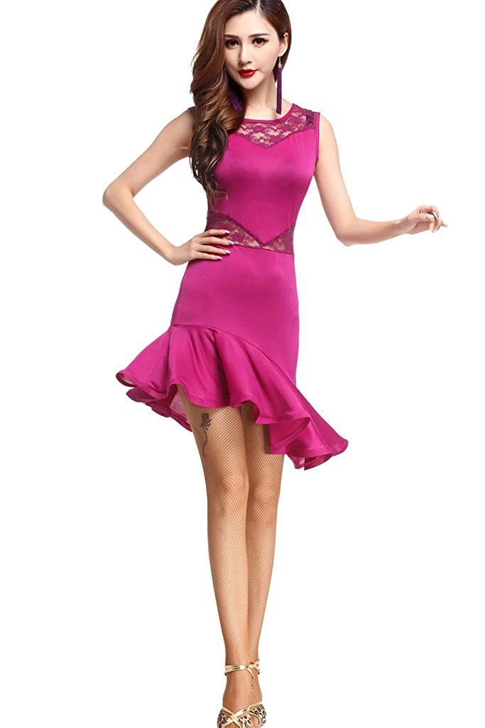 ZLTdreamレディースタンゴサルサラテン社交ダンスパーティーフォーマルドレスレース B01N3C0EH1 Purple-rose One Size