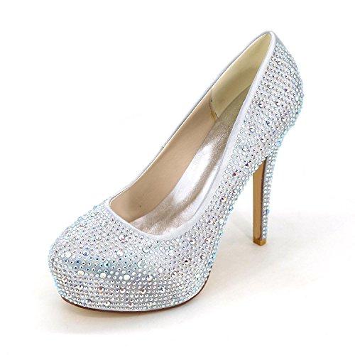 L@YC Women's High Heels Spring Summer Fall Winter Platform Comfort Club Shoes Light Up Shoes Cowhide Wedding Party & EveningStiletto Heel Platform Silver
