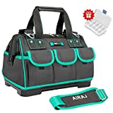 AIRAJ 18-in Waterproof Tool Bag,Wide Mouth Multi-pocket Tool Organizer with Adjustable Shoulder Strap,Suitable for electrician, woodworking tool storage bag(18 in)