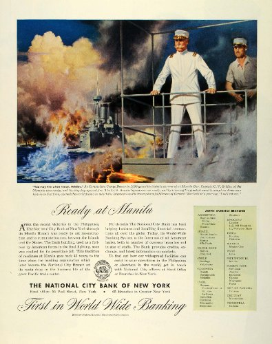 1945-ad-wwii-national-city-bank-new-york-george-dewey-navy-manila-bay-battleship-original-print-ad