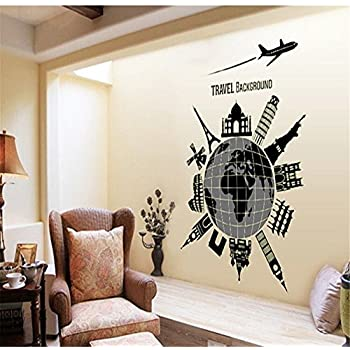 Fluorescent Wall Stickers For Bedroom ,Removable Living Room Decal Vinyl  Decor DIY Decoration(Travel World Background)