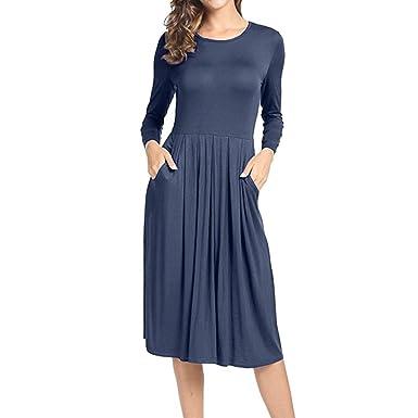 c264008cb1c Reaso Femmes Elegant Maxi Robe Classique Casual Swing Robe Mi-Longue Robe  Manches Longues Robe