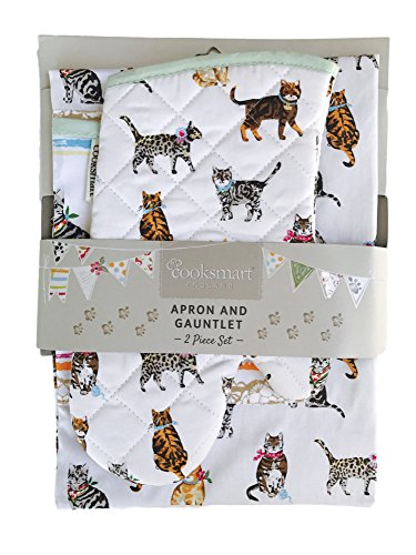 Cooksmart Apron and Gauntlet Oven Mitt Set Cats on Parade Theme