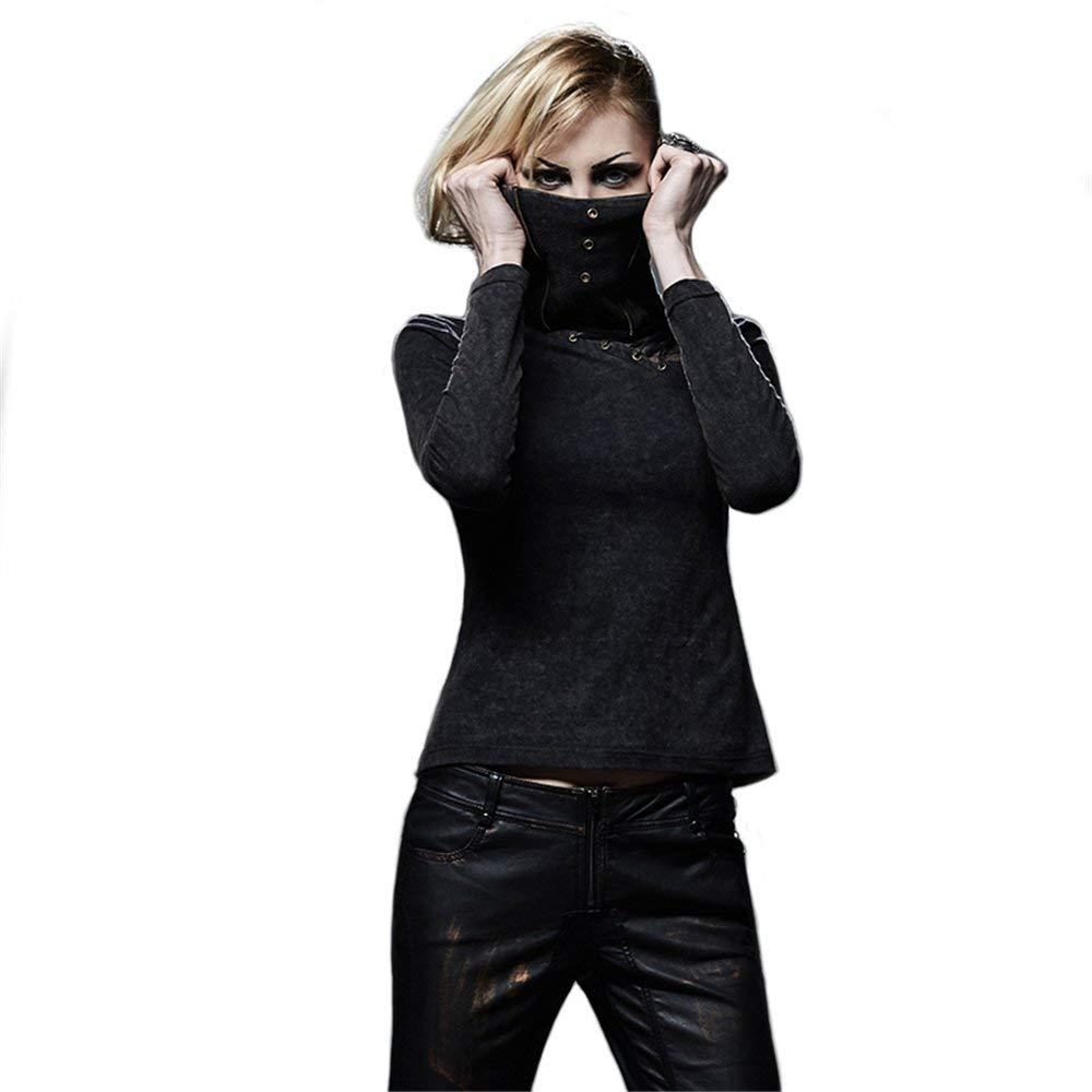 Amazon.com: PUNK RAVE Gothic Mask T-Shirts Women Black ...