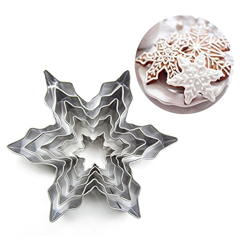 Forvel 3D Winter Snowflake Cookie Cutters Snow Crystal Mousse Cake Ring Chocolate Biscuit Baking Decor Fondant Mould Set