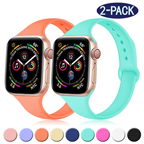 Band Mint - Transy Slim Bands for Apple Watch 38mm/40mm, Waterproof/Fashionable Silicone Band Made for Womens,Papaya/Mint Green