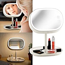 Oct17 Makeup Mirror Lighted Lamp LED Vanity Travel Portable Cordless Rechargeable Battery Powered Round Natural Light Touch Screen Desk With Under Organizer Storage 180 Adjustable Swivel - White