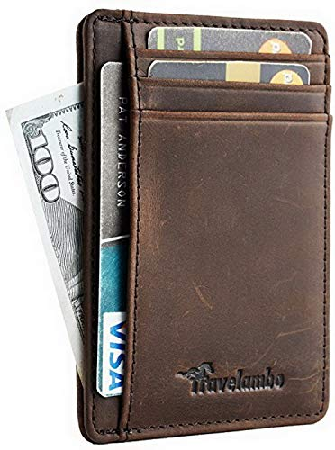 Travelambo Front Pocket Minimalist Leather Slim Wallet RFID Blocking Medium Size(crazy horse coffee)