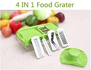 Yijiagou Food Grater Multipurpose Vegetable Slicer - 4 Blade Inserts Julienne Slicer, Cheese Slicer, Cheese Grater & Lemon Zester