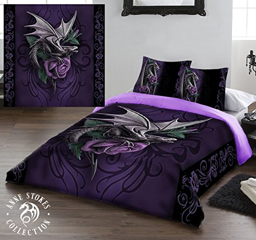 DRAGON BEAUTY Duvet & Pillows Case Covers Set for Queensize Bed Artwork By Anne Stokes by Wild Star Home
