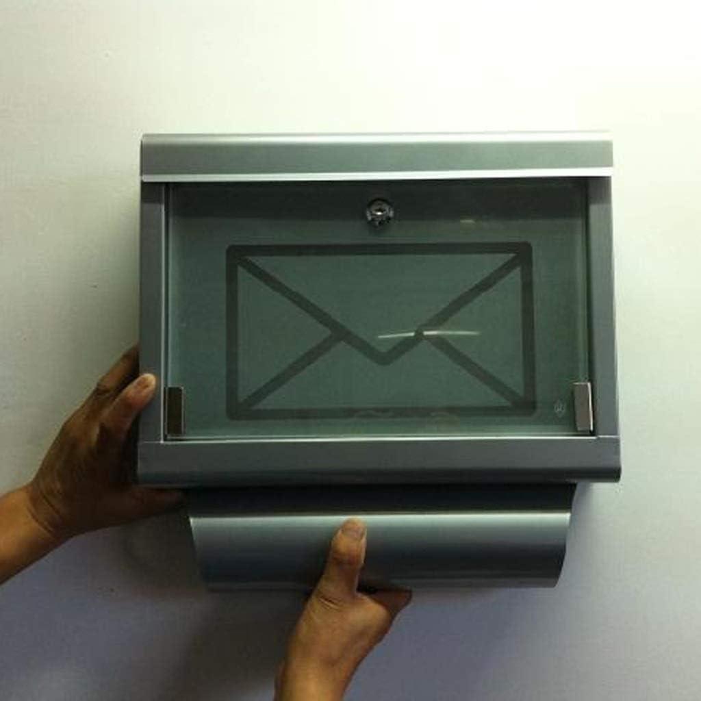DJYX Buzón de estilo europeo caja al aire libre a prueba de herrumbre de hierro forjado puerta de vidrio de gama alta Villa Buzón transparente Titular Periódico Puerta Buzón de sugerencias 4YX08