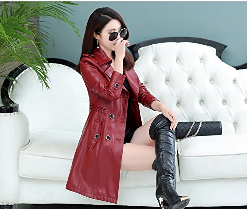 Wind Jacket Leather Red Thin Foutune Sau Wine Jacket Garments Xuanku In Long The San Women'S xHwqgZpq