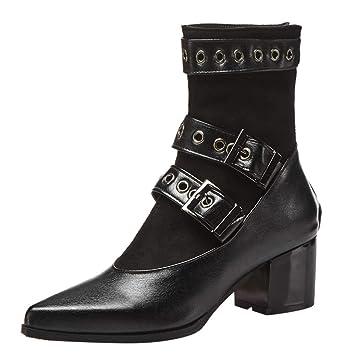 LuckyGirls Botas de Cuero para Mujer Originales Remaches Botines con Hebilla Patchwork Botas Casual Calzado Zapatillas Zapatos de Tacón Botas Mujer Moteras ...