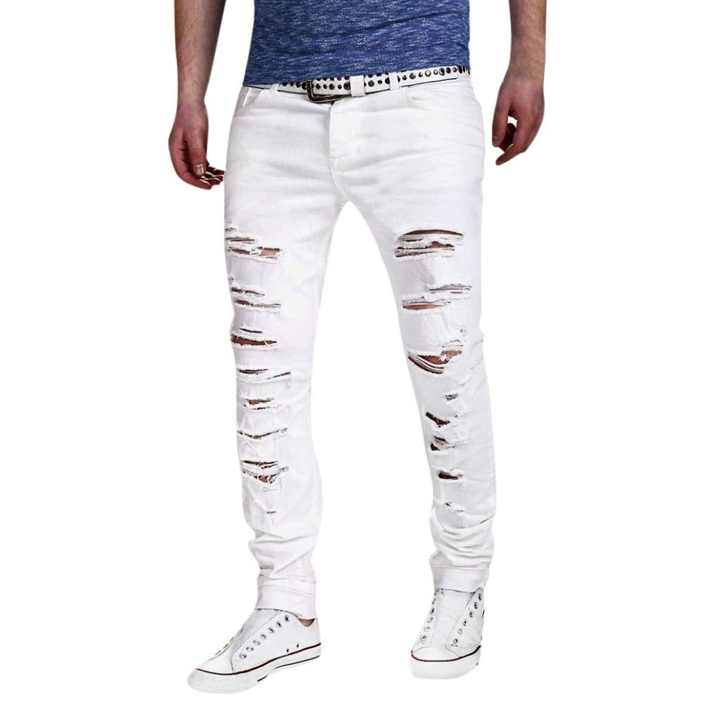 Alimao Autumn Pants Mens Stretchy Ripped Skinny Biker Jeans Destroyed Taped Slim Fit Denim Trousers by Alimao (Image #1)