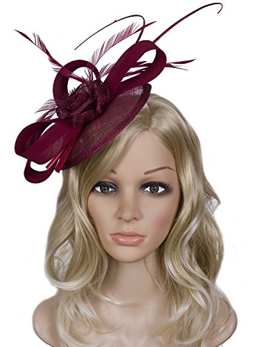 Vijiv Women Vintage Derby Fascinator Hat Pillbox Headband Feather Cocktail Tea Party, Red, One Size by Vijiv (Image #3)