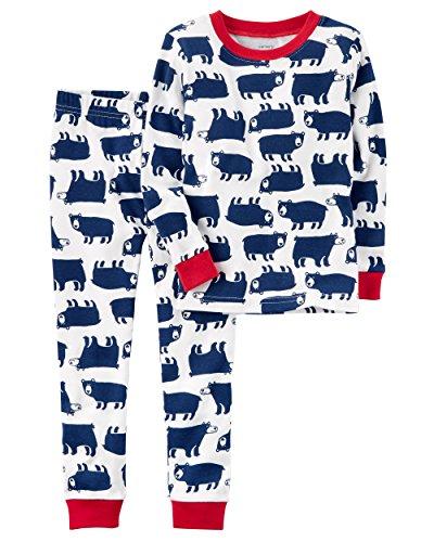 Piece 2 Carters Boys (Carter's Boys' 2-Piece Bear Snug Fit Cotton PJs, White (2T))