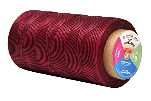 Mandala Crafts 150D 210D 0.8mm 1mm Leather Sewing Stitching Flat Waxed Thread String Cord (210D 1mm 180M, Dark Red)