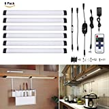 TryLight Dimmable Under Cabinet LED, 24W Total, 1800lm, 4000K Nature White, 48W Fluorescent Tube Equivalent, All Accessories Included, 12in Under the Counter Lights, Closet Light-6 Panel Kit