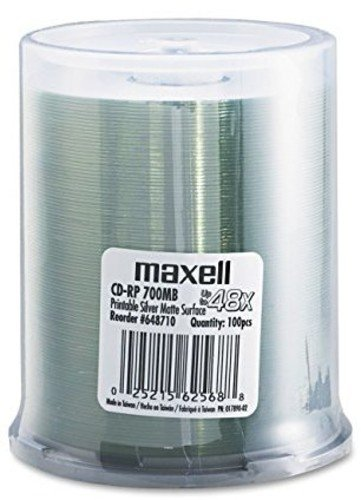 Maxell CD Recordable Media CD-R 48X 700 MB 100 Pack Spindle Blank CD-R Disc White (648710)