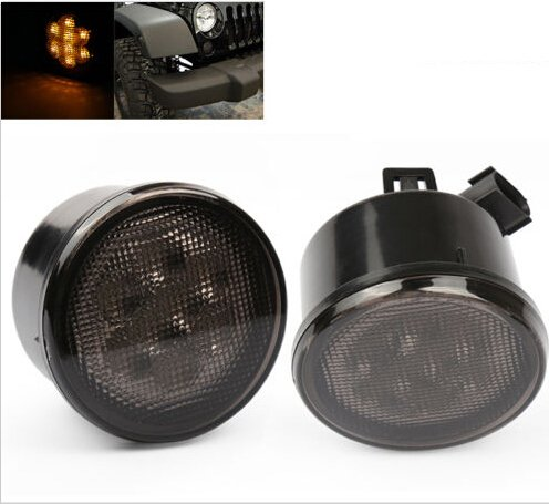 SUNPIE Amber Front LED Turn Signal Light Assembly for 2007~2017 Jeep Wrangler JK Turn Lamp Fender Flares Eyebrow Indicator Side Maker Parking Lights Bulb Smoke Lens Pack of Two