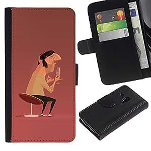 Be-Star la tarjeta de Crédito Slots PU Funda de cuero Monedero caso cubierta de piel Para Samsung Galaxy S3 MINI 8190 (NOT S3) ( Man Champagne Art Chair Design Painting )