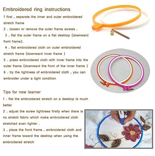 Random Color 6pcs Embroidery Hoop Cross Circle Hoops Set in 6 Different Size